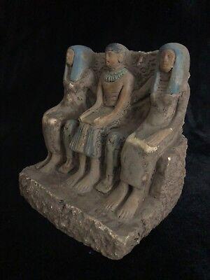 RARE EGYPT EGYPTIAN ANTIQUE Pharaoh Family Statue Carved Handmade STONE BC