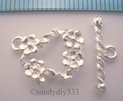 1x STERLING SILVER GARDEN FLOWER TOGGLE CLASP 13.2mm #368