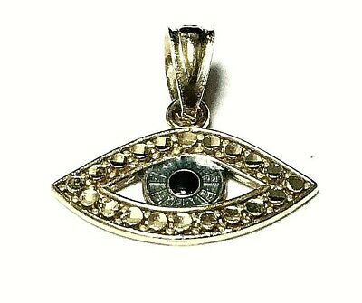 10k Yellow Gold Genuine Blue seeing Evil Eye Design Necklace Charm Pendant