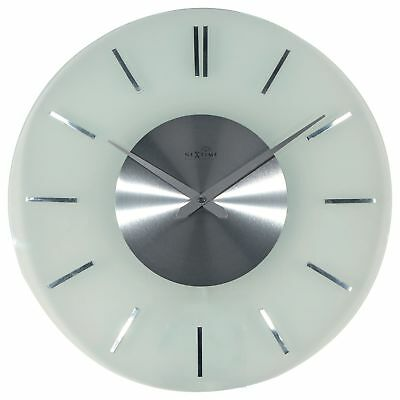 Nextime Wall Clock Stripe Radio Controlled Ø40cm Glass Stainless Steel