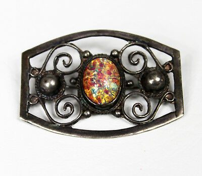 Antique Vintage Mexican Sterling Silver Foiled Lampwork Faux Opal Brooch 11.9g