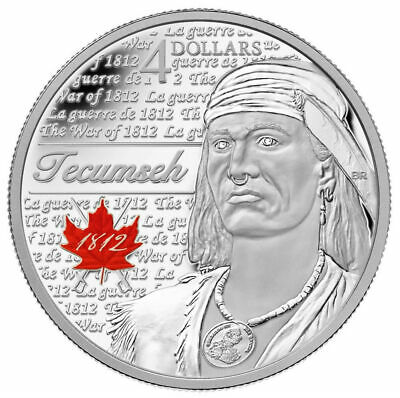 Canada 2012 $4 Heroes of 1812: Tecumseh - Pure Silver Coin Tax Exempt w COA Box