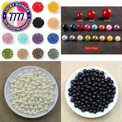 100Pcs/Bag With Hole Abs Imitation Pearl Beads 4/6/8/10/12Mm Round Plastic Acryl