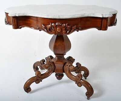 Fine antique carved laminated rosewood Rococo center table Belter Meeks NY 1860