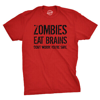68ca6354f33e MENS ZOMBIES EAT Brains So You're Safe Funny T Shirt Living Dead Halloween  Tee