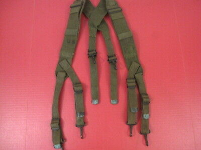 post-WWII US Army OD Green M1944 Combat Field Pack Suspenders - 1951 - Excellent