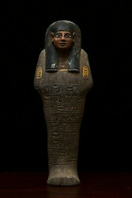 EGYPTIAN ANTIQUES EGYPT STATUE Large Shabti, Ushabti Hieroglyph Carved Stone-BC