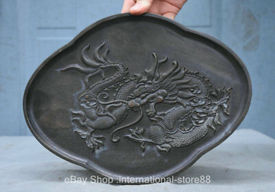 "11.2"" Antique China Chinese Wood Carving Dynasty Palace Dragon Plate Dish Tray"