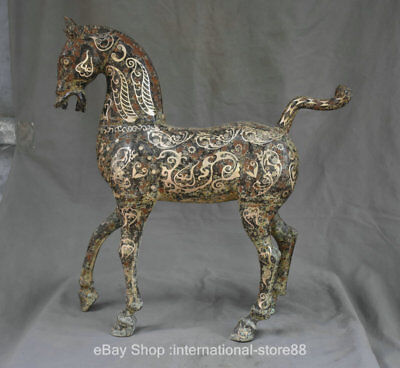 """21.2"""" Old Chinese Silver Bronze Ware Dynasty Palace Tang Horse Statue Sculpture"""