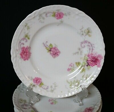Theodore Haviland Limoges Schleiger 335 LAMBALLE Pink Roses 10 Bread Plates