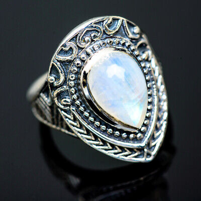 925 Sterling SILVER Rainbow Moonstone Ring Real Gemstone Jewellery Sizes L to Z