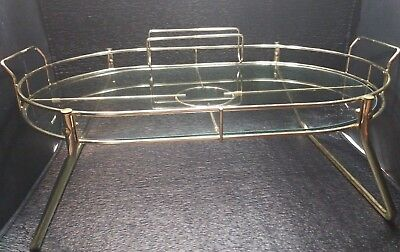 Brass Glass Vintag Tea Mid Century Modern Drink Serving tray caddy condiment 25""