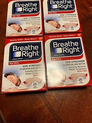 *104 Breathe Right Strips - (4) 26 ct RED Boxes - EXTRA STRONG TAN SALE!!