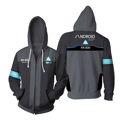 Detroit: Become Human Hoodie Hooded Sweater Connor RK800 Zipper Coat+Cosplay UK