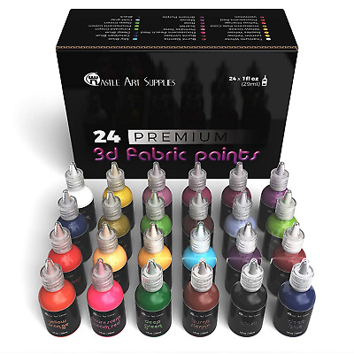 Castle Art Supplies 3D Fabric Paint Set - 24 Premium Vibrant Puffy Colors for -