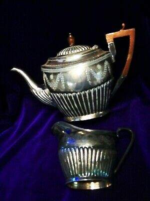Art Deco/Silver Plated Teapot And Cream Jug/Wood Handle And Knob
