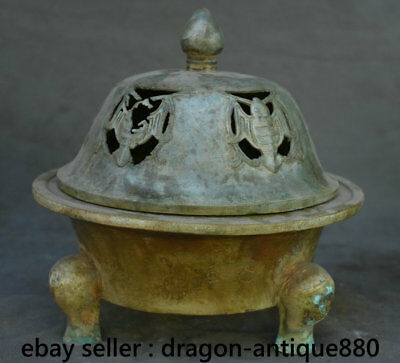 "9.2"" Old Chinese Bronze Ware Dynasty Palace Birds 3 Legs Incense Burner Censer"