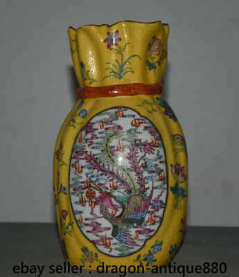 """9"""" Marked Chinese Palace Old Wucai Porcelain Animal Dragon Phoenix luck Moneybag"""