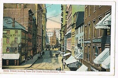 UNDIVIDED BACK Postcard    STATE STREET LOOKING FROM OLD STATE HOUSE, BOSTON, MA