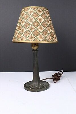 Vintage Tree Trunk Spelter Table lamp With Paulding Socket And Shade