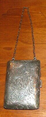1900's Fine Sterling Silver Coin & Money Compact Case Purse Engraved Mirror