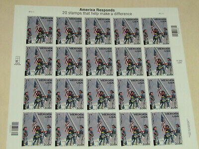 America Responds 9/11 Heroes .34¢ USA First Class Stamps 2001 Sheet of 20 MNH
