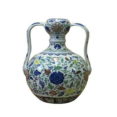 Double Handle Handmade Porcelain Vase With Forest Flower Graphics Painting n394