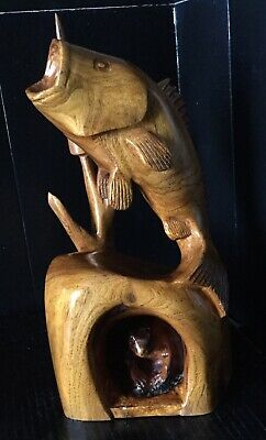 """Vintage Hand Carved Wooden Fish Jumping With Frog Carving Sculpture 13"""" Signed"""