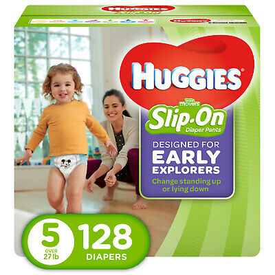 Little Disposable Diapers Movers Slip On Pants, Size 5, 128 Count