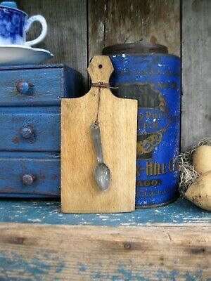 Early Antique Child's Wood Bread Board w Antique Tin Spoon Free Shipping