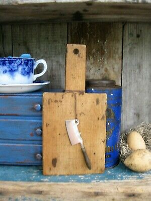 Early Antique Child's Wood Bread Board w Antique Toy Meat Cleaver Free Shipping