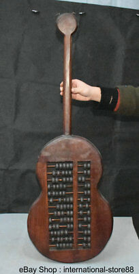 """36"""" Old China Huanghuali Wood Carving Pipa Guitar Shape Counting Frame Abacus"""