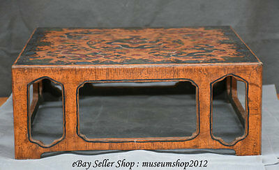 "15"" Qing Dynasty Chinese lacquerware Wood Carved Dragon Table Desk"