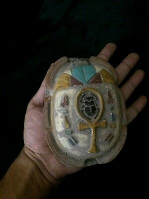 EGYPT EGYPTIAN SCARAB STATUE Antiques Beetle Khepri Relief Carved STONE, BC Vk9