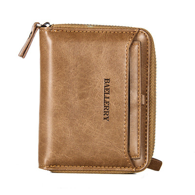 Retro Mens Faux Leather Wallet Short Bifold Card Holder Zip Coin Pocket Purse