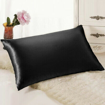 AU-2* Silk Satin Pillowcase Soft Smooth Pillow Cover Bedding Accessories Bedroom