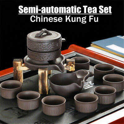 11PCS Semi-automatic Purple Clay Tea Set Chinese Kung Fu Infuser Pitcher Cup