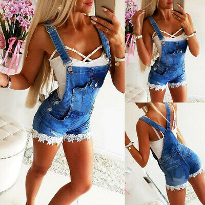 New Womens Casual Denim Dungaree Shorts Dress Overall Playsuit Jumpsuit Romper