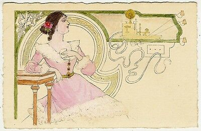 Art Nouveau, Lady with a Telegraph and a Letter, Old Postcard Pre. 1905