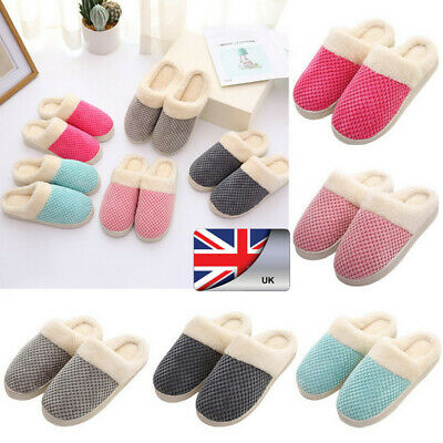 Unisex Winter Moccasins Plush Slippers Non-Slip Cuddly Home Wide Warm Shoes WANG