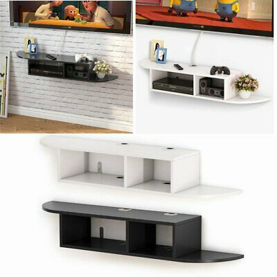 Tribesigns 2 Tier Modern Wall Mount Floating Shelf TV Console Black/White UK