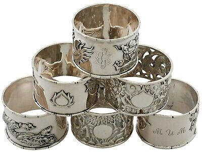 Antique Chinese Export Silver Napkin Rings Circa 1900 / 1930