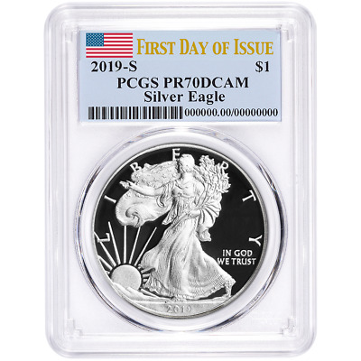 2019-S Proof $1 American Silver Eagle PCGS PR70DCAM FDOI Flag Label