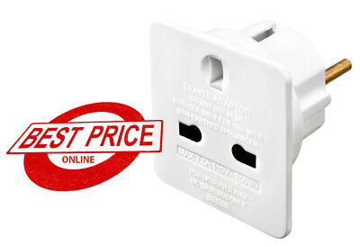 1 X UK to EU Adapter Euro European Europe Approved Travel Adapter Plug