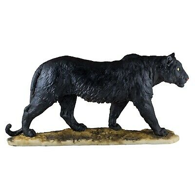 """Large Black Panther Leopard Figurine Statue 16"""" Long Resin New In Box!"""