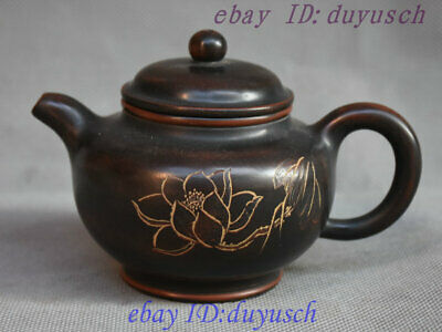 Collect Chinese Yixing Zisha pottery Carving Louts Teapot Tea pot Kettle Tea set