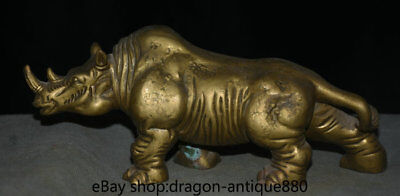 "8.8"" Old Chinese Bronze rhinoceros Cattle Ox Bull Animal Statue Sculpture"