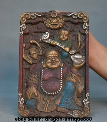 "10"" Old Chinese Buddhism Wood Painted Maitreya Buddha Buddha Wall Hang thangka"