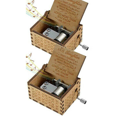 Gift Hand Crank Wooden Engraved Music Box Mom/Dad To Daughter Ornament Kids Toy