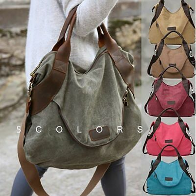 Women's Handbag Shoulder Canvas Leather Bags Large Pocket Casual Tote For Women